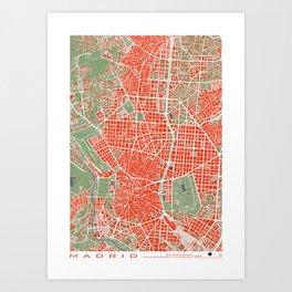 Madrid city map classic Art Print