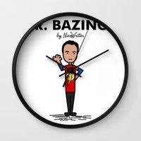 bazinga Wall Clocks featuring Mr Bazinga by NicoWriter