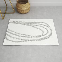 White Pearl Beaded Necklace Rug