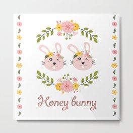 Honey bunny. Lesbian Rabbits couple Metal Print