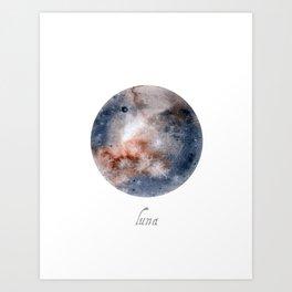 Luna Moon Celestial Watercolor Art Print