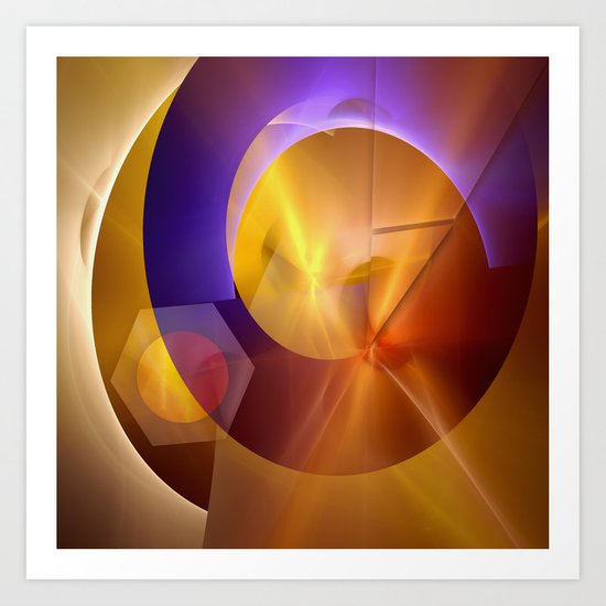 Modern abstract with a golden glow Art Print