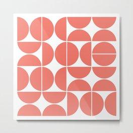 Mid Century Modern Geometric 04 Living Coral Metal Print