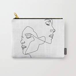 Line art, Line Art Abstract, Continuous Line, Drawing of Set Faces And Hairstyle, Line art Carry-All Pouch