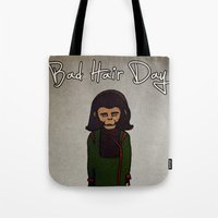 planet of the apes Tote Bags featuring bad hair day no:1 / Planet of the Apes by niles yosira