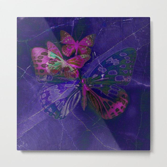 Marble Butterflies Metal Print