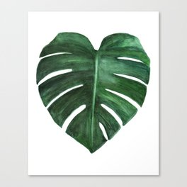 Watercolor Monstera leaf Canvas Print