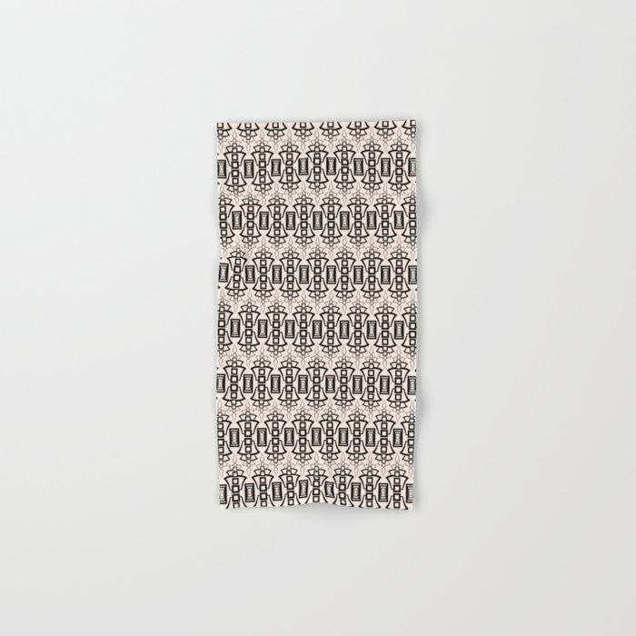 Art Deco 12 . Black and beige pattern . Hand & Bath Towel