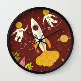 Astronauts in Space with Florals - Maroon Wall Clock