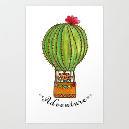 Ms Neko in cactus hot baloon Art Print