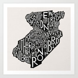Middlesex County, New Jersey Map Art Print
