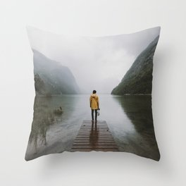Mountain Lake Vibes - Landscape Photography Throw Pillow