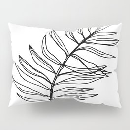 Continuous Line Botanical Drawing Palm Leaf Pillow Sham