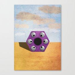 Purple Hexagon Monster Canvas Print