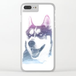 HUSKY SUPERIMPOSED WATERCOLOR Clear iPhone Case