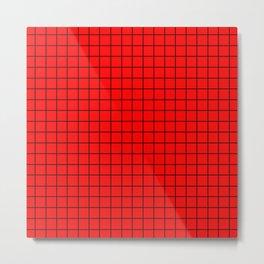 Black Grid On Red Metal Print