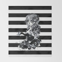 Black & White Sugar Skull Girl Throw Blanket