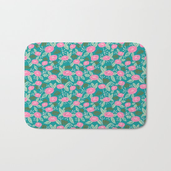 Turquoise blossom blooms painting abstract pattern garden gardener plants summer spring bright  Bath Mat