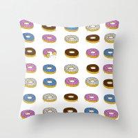 doughnut Throw Pillows featuring Doughnut by PSHAWWHO