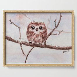 Funny little owl Serving Tray