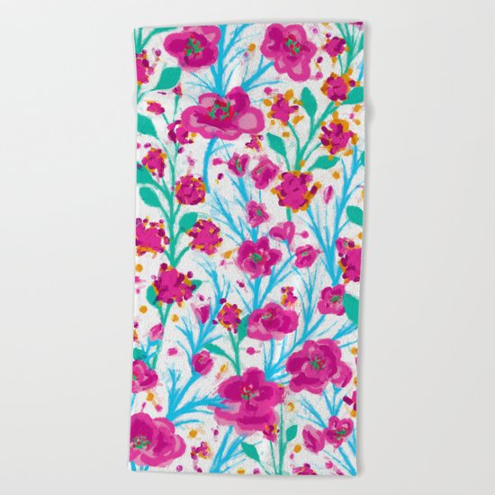 There are many flowers Beach Towel
