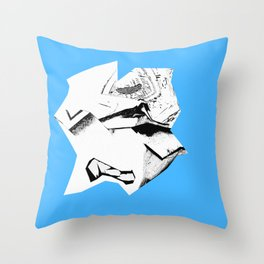 Blue Glitch Scrunch Throw Pillow
