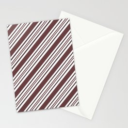 Pantone Red Pear and White Thick and Thin Angled Lines - Diagonal Stripes Stationery Cards
