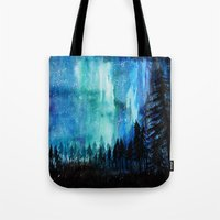 northern lights Tote Bags featuring Northern Lights by VivianLohArts