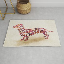 The Dachshund Dog Typography Art / Watercolor Painting Rug