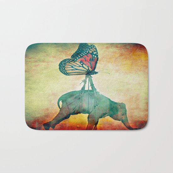 The elephant and the butterfly Bath Mat