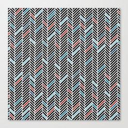 Herringbone Black and Blue #2 Canvas Print