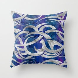 Abstract Maori curve shapes - Silver & Purple Throw Pillow