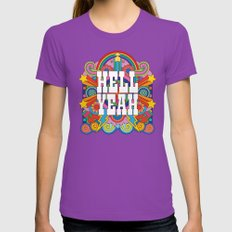 Hell Yeah LARGE Womens Fitted Tee Ultraviolet