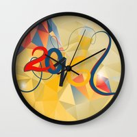 new year Wall Clocks featuring new year by luiza13