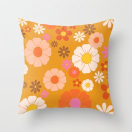 Groovy Mod 60's Flower Power Throw Pillow