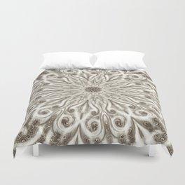 off white sepia swirl mandala Duvet Cover