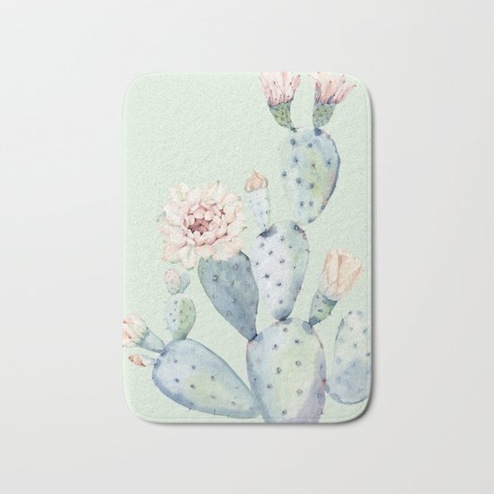 Prettiest Mint Cactus Rose Bath Mat