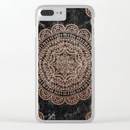 Mandala - rose gold and black marble 2 Clear iPhone Case