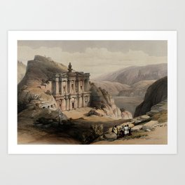 Vintage Print - The Holy Land, Vol 3 (1843) - Rock temple of el-Derr at Petra Art Print