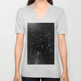 Moon Rising in the dark Black and White Unisex V-Neck