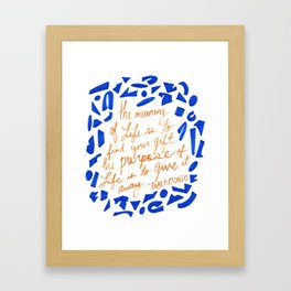 Picasso Quote in Cobalt and Gold Framed Art Print