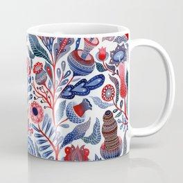 Botanical in red and blue Coffee Mug