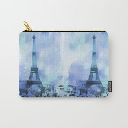 Blue Eifel Tower Paris France abstract painting Carry-All Pouch