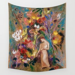 Female figure into red poppy, calla lilies, hibiscus, and flowers portrait painting by Odilon Redon Wall Tapestry