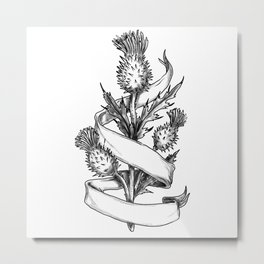 Scottish Thistle With Ribbon Sketch Metal Print