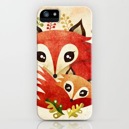 Fox Mom & Pup iPhone Case