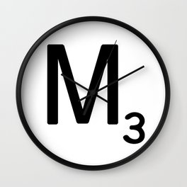 Letter M - Custom Scrabble Letter Tile Art - Scrabble M Initial Wall Clock