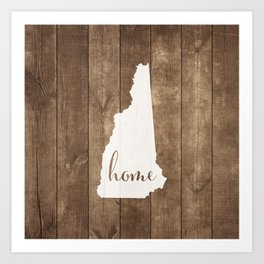 New Hampshire is Home - White on Wood Art Print