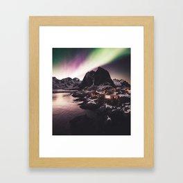 lofoten with aurora Framed Art Print