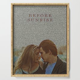 Text Portrait of Ethan Hawke and Julie Delpy with Full Script of the movie Before Sunrise Serving Tray